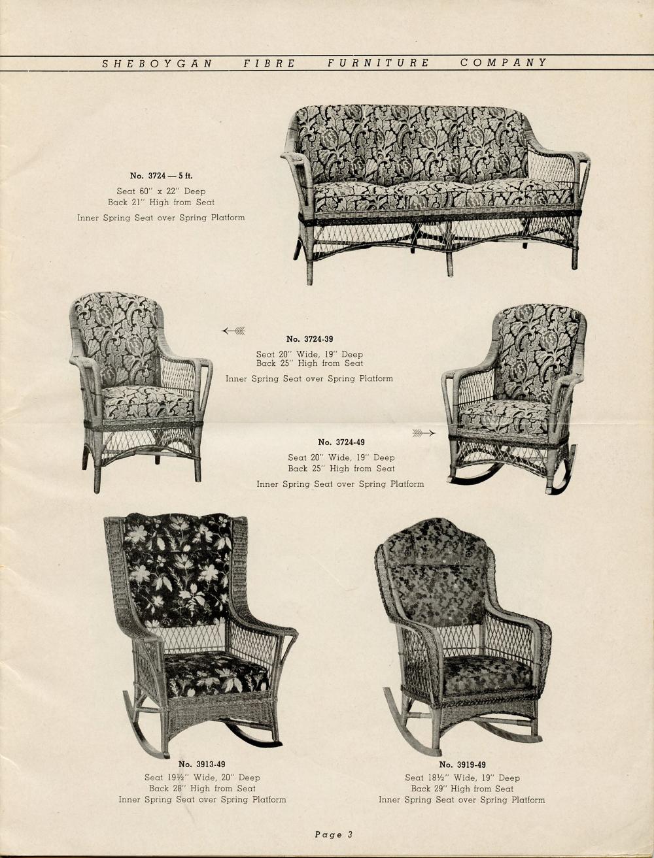 1942 Sheboygan Fibre Furniture Company Catalogue, Page 3.